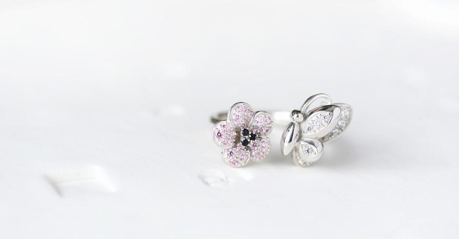 桜&蝶 リング シルバー925