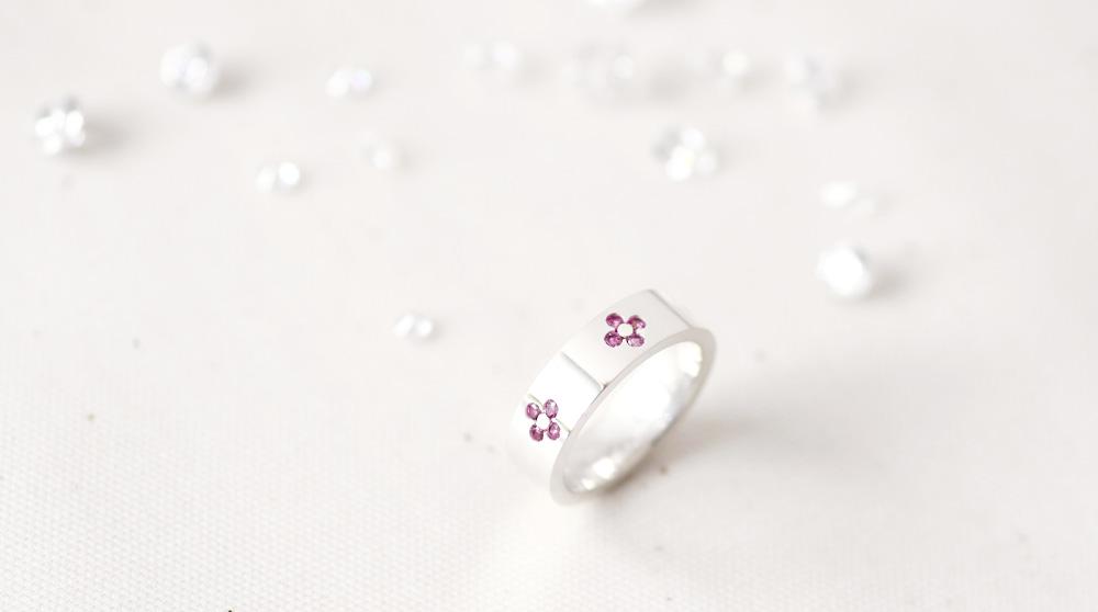 桜ピンク リングシルバー925