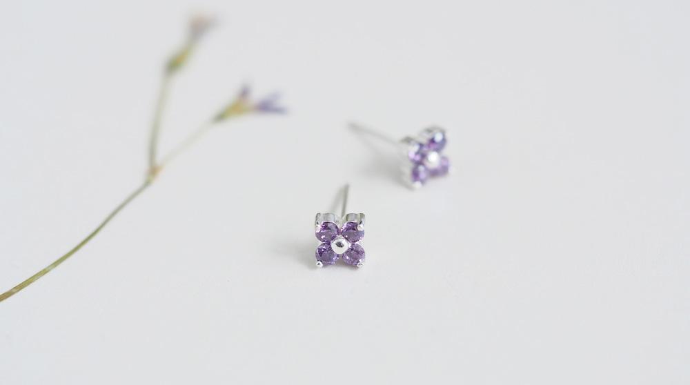 amethyst 紫 フラワー ピアス シルバー925