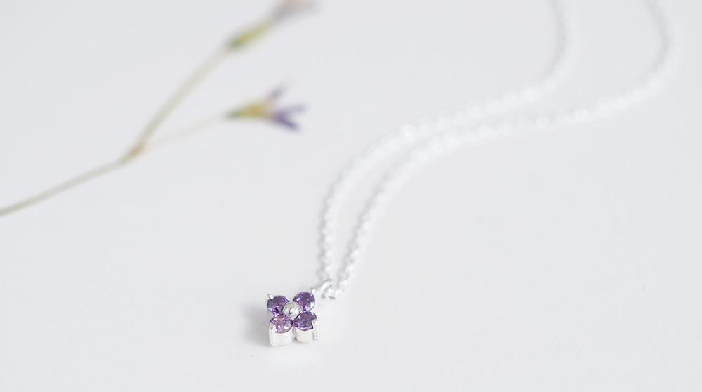 amethyst 紫 フラワー ネックレス シルバー925