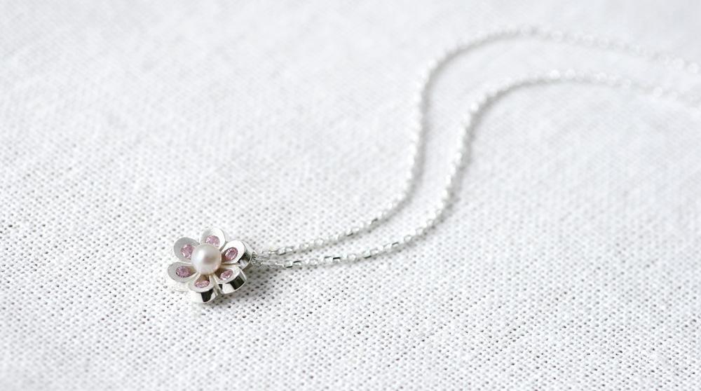 Pink 花&真珠 ネックレス シルバー925