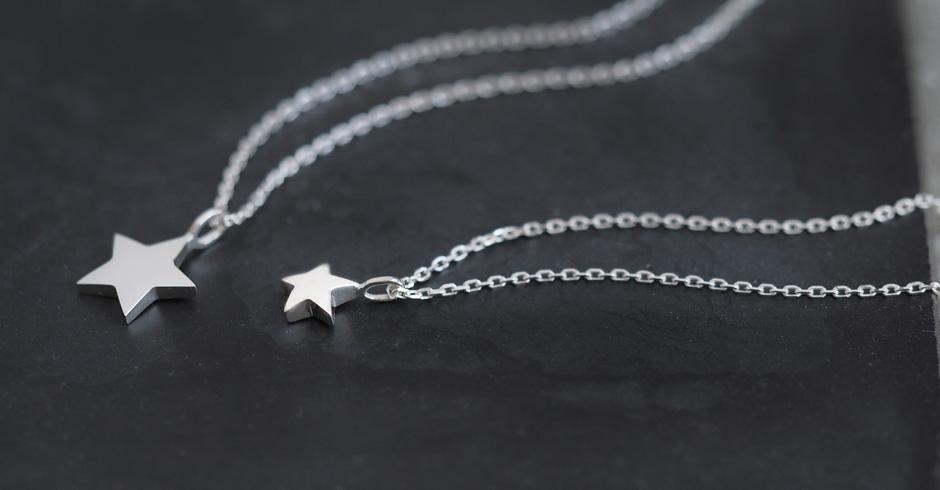 2コset)tiny 星 ペア ネックレス シルバー925