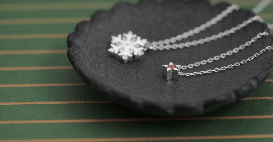 Christmas set) 星&雪の結晶 ネックレス セット シルバー925