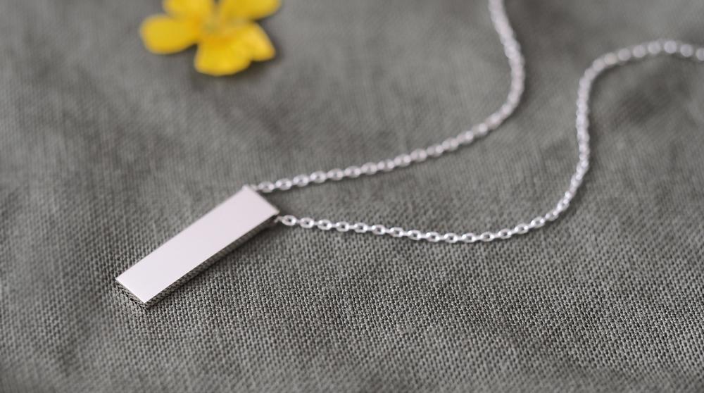 Minimal bar 長方形 ネックレス シルバー925