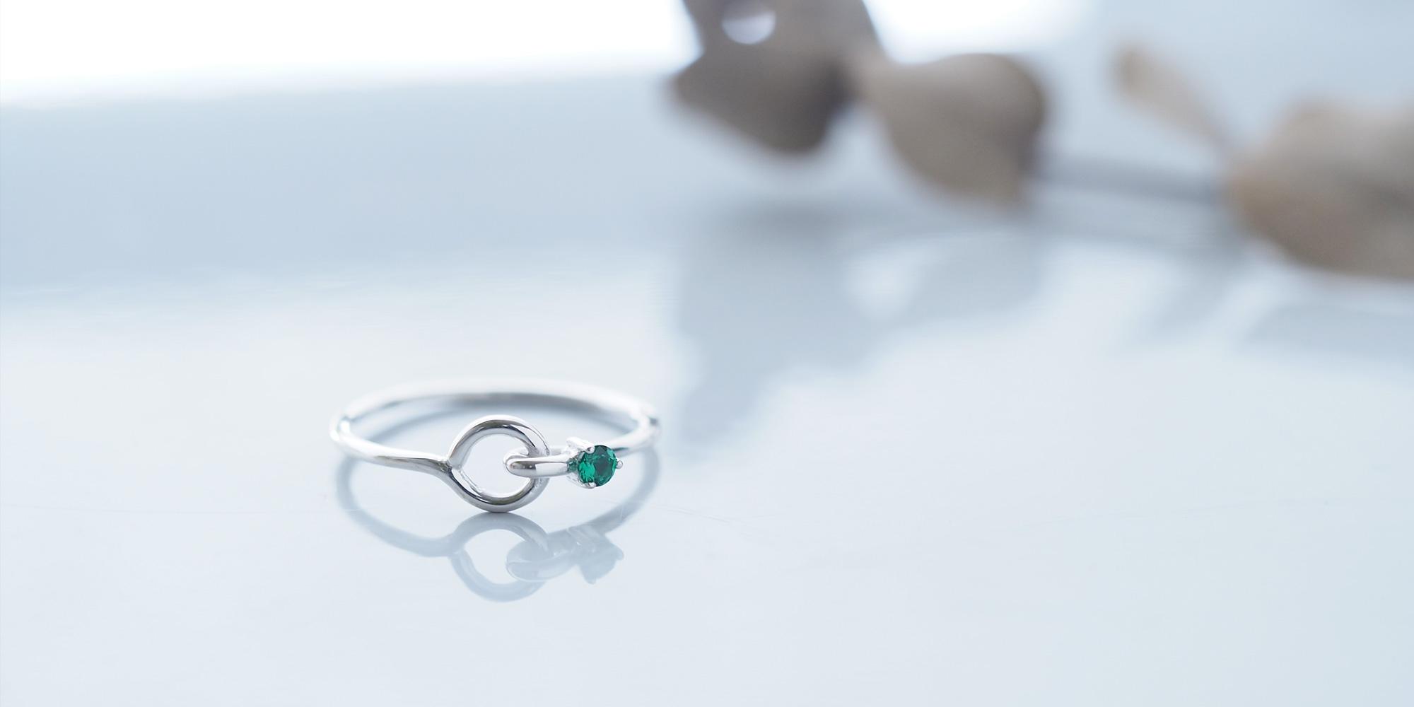Emerald stone ワイヤー リング シルバー925